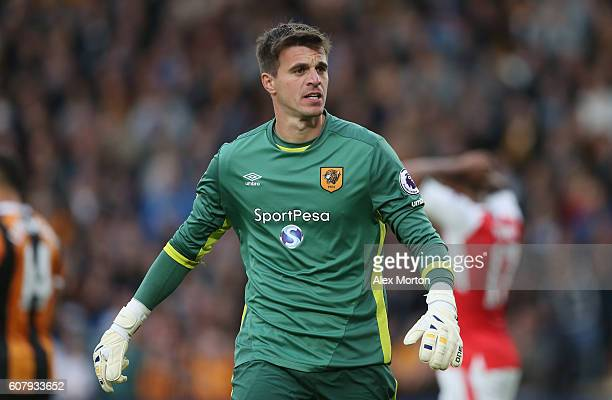 Eldin Jakupovic of Hull during the Premier League match between Hull City and Arsenal at KCOM Stadium on September 17 2016 in Hull England