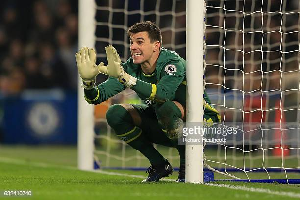 Eldin Jakupovic of Hull in action during the Premier League match between Chelsea and Hull City at Stamford Bridge on January 22 2017 in London...