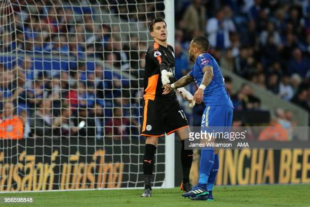 Eldin Jakupovic of Leicester City and Danny Simpson of Leicester City during the Premier League match between Leicester City and Arsenal at The King...