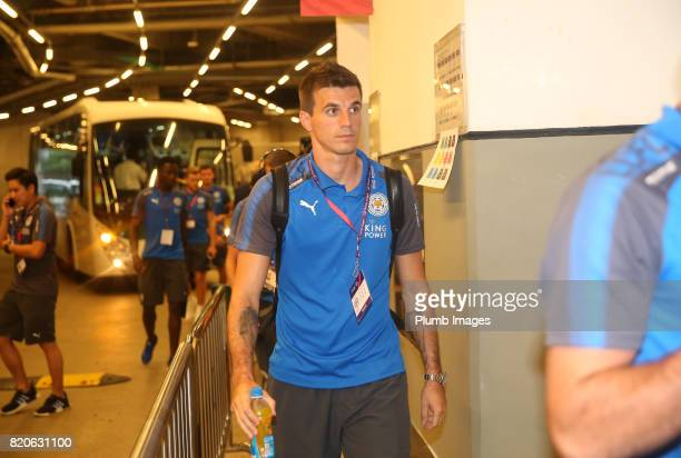 Eldin Jakupovic of Leicester City arrives at Hong Kong Stadium ahead of the Premier League Asia Trophy Final between Liverpool FC and Leicester City...