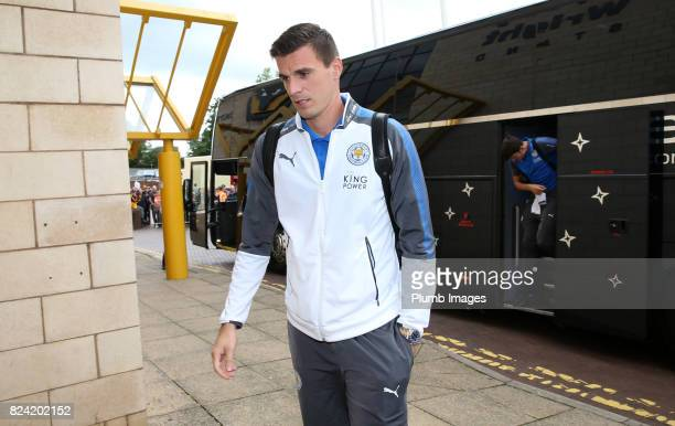 Eldin Jakupovic of Leicester City arrives at Molineux Stadium ahead of the pre season friendly between Wolverhampton Wanderers and Leicester City on...