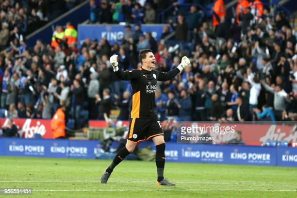 Eldin Jakupovic of Leicester City celebrates after Kelechi Iheanacho of Leicester City scores to make it 10 during the Premier League match between...