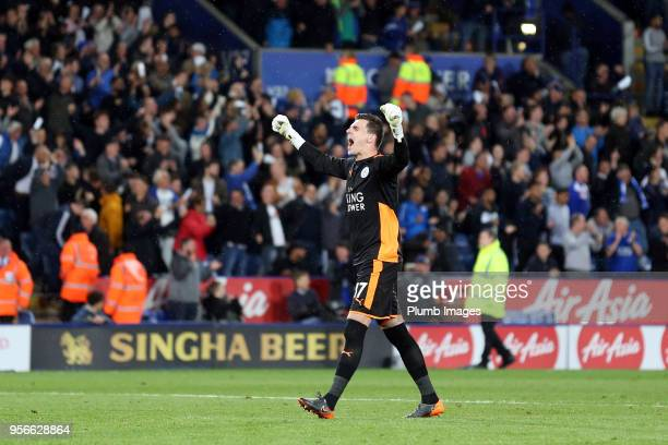 Eldin Jakupovic of Leicester City celebrates after Riyad Mahrez of Leicester City scores to make it 31 during the Premier League match between...