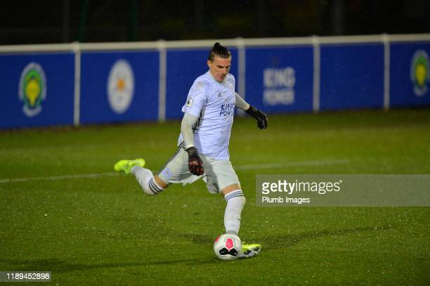 Eldin Jakupovic of Leicester City during the Leicester City U23 v Villarreal B PL International Cup at Holmes Park on December 18th 2019 in Leicester...