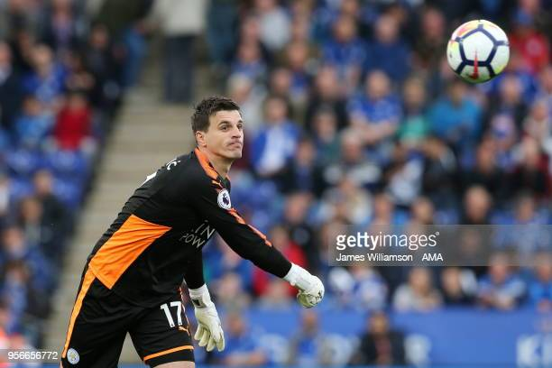 Eldin Jakupovic of Leicester City during the Premier League match between Leicester City and Arsenal at The King Power Stadium on May 9 2018 in...