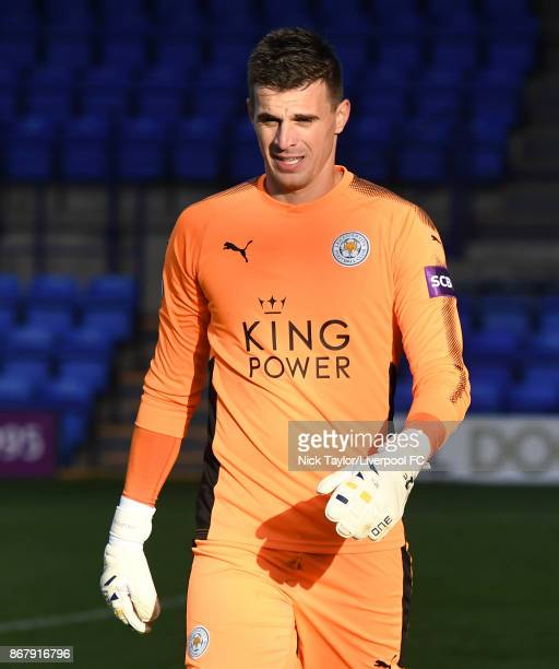 Eldin Jakupovic of Leicester City in action during the Liverpool v Leicester City PL2 game at Prenton Park on October 29 2017 in Birkenhead England