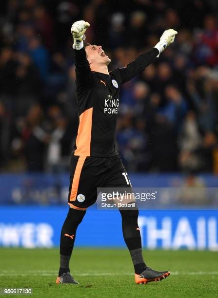 Eldin Jakupovic of Leicester City reacts during the Premier League match between Leicester City and Arsenal at The King Power Stadium on May 9 2018...