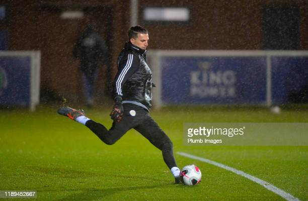 Eldin Jakupovic of Leicester City warms up before the Leicester City U23 v Villarreal B PL International Cup at Holmes Park on December 18th 2019 in...