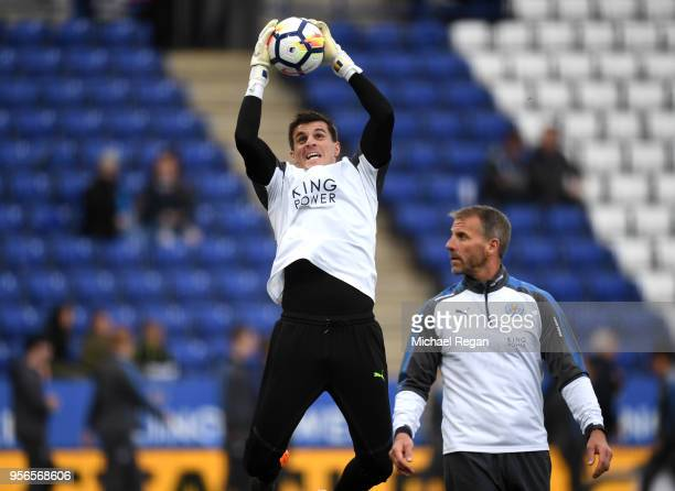 Eldin Jakupovic of Leicester City warms up prior to the Premier League match between Leicester City and Arsenal at The King Power Stadium on May 9...
