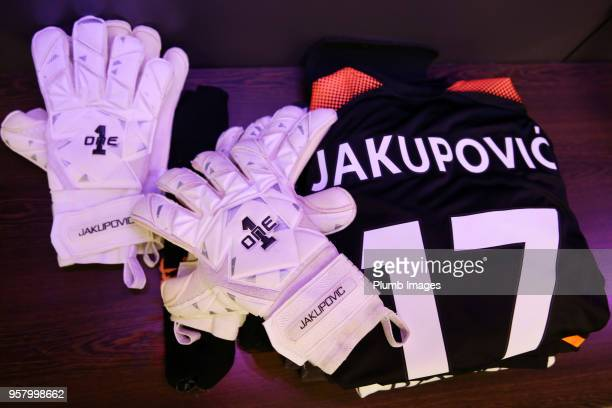 Eldin Jakupovic of Leicester City's kit is laid out ahead of the Premier League match between Tottenham Hotspur and Leicester City at Wembley Stadium...