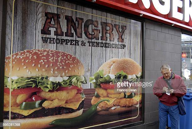 Eldlerly couple looking at Burger king Menu commercial angry whopper and Tendercrisp 22 sept 2011