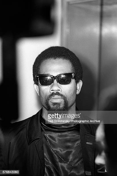 Eldridge Cleaver spokesman for the Black Panther Party speaks at a press conference after Huey Newton's conviction