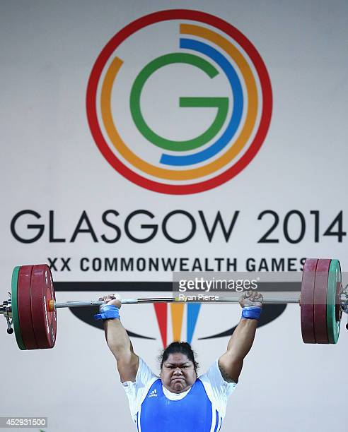 Ele Opeloge of Samoa lifts during the Women's Weighlifting 75kg Group A Final at Scottish Exhibition And Conference Centre during day seven of the...