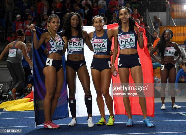 Elea Mariama Diara Deborah Sananes Agnes Raharolahy and Floria Guei of France celebrate after winning Silver in the Women's 4 x 400m Relay Final...
