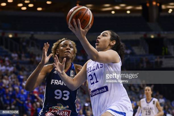 Eleanna Christinaki of Greece in action against Diandra Tchatchouang of France during the 2017 FIBA EuroBasket Women's semifinal match between Greece...
