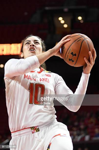 Eleanna Christinaki of the Maryland Terrapins drives to the hoop against the Iowa Hawkeyes at Xfinity Center on January 4 2018 in College Park...