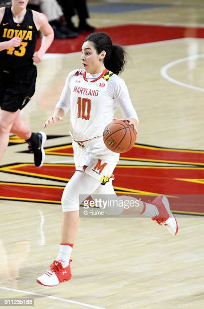 Eleanna Christinaki of the Maryland Terrapins handles the ball against the Iowa Hawkeyes at Xfinity Center on January 4 2018 in College Park Maryland