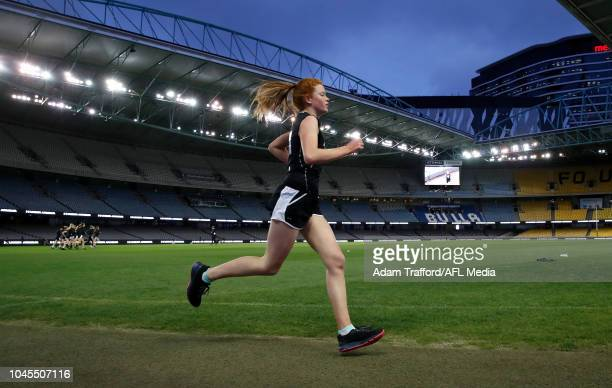 Eleanor Brown performs in the 2km time trial during the AFLW Draft Combine at Marvel Stadium on October 3 2018 in Melbourne Australia