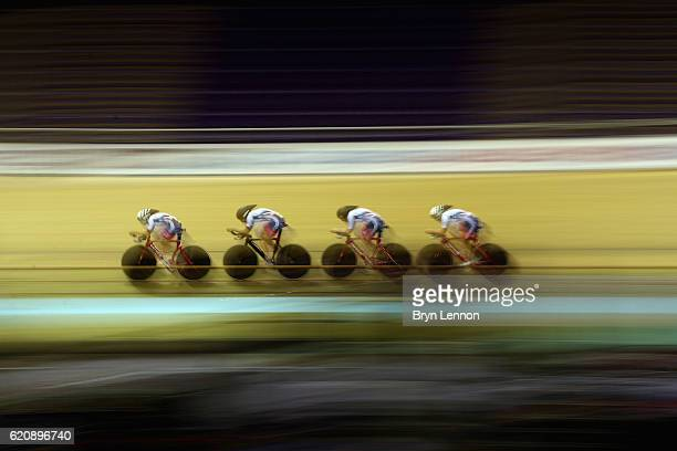Eleanor Dickinson Danielle Khan Manon Lloyd and Emily Nelson in action during the Women's Team Pursuit Qualifying at Sir Chris Hoy Velodrome on...