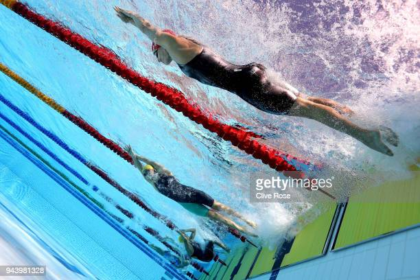 Eleanor Faulkner of England competes during the Women's 400m Freestyle Heat 3 on day six of the Gold Coast 2018 Commonwealth Games at Optus Aquatic...