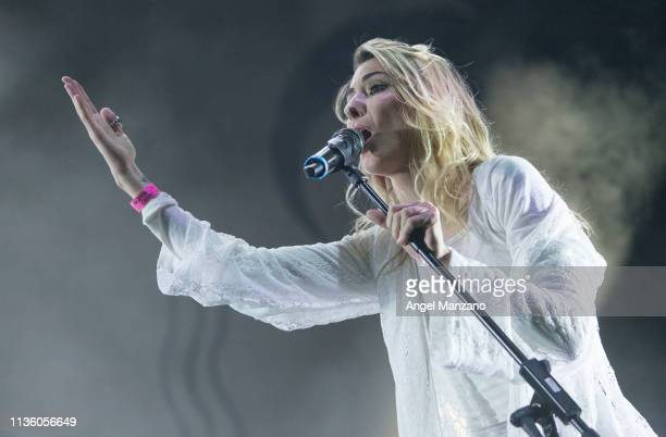 Eleanor Fletcher from Crystal Fighters performs on stage at WiZink center on March 15 2019 in Madrid Spain