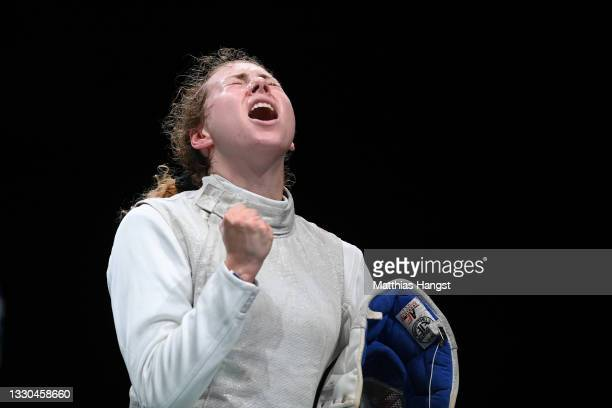 Eleanor Harvey of Team Canada celebrates after defeating Pauline Ranvier of Team France in Women's Individual Foil first round on day two of the...