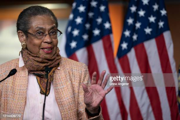 Eleanor Holmes Norton District of Columbia delegate to the House of Representatives speaks during a press conference to mark the anniversary of the...