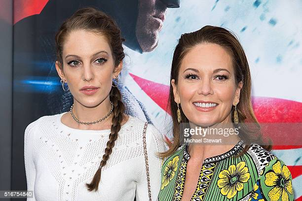 Eleanor Lambert and actress Diane Lane attend the Batman V Superman Dawn Of Justice New York premiere at Radio City Music Hall on March 20 2016 in...