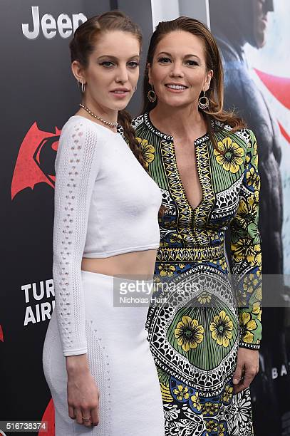 Eleanor Lambert and Diane Lane attend the Batman V Superman Dawn Of Justice New York Premiere at Radio City Music Hall on March 20 2016 in New York...