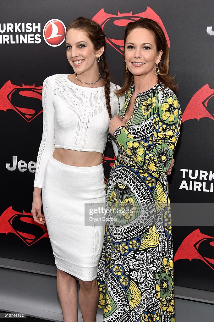 Eleanor Lambert (L) and Diane Lane attend the launch of Bai Superteas at the 'Batman v Superman: Dawn of Justice' premiere on March 20, 2016 in New York City.
