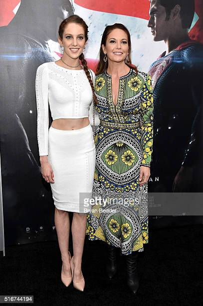 Eleanor Lambert and Diane Lane attend the launch of Bai Superteas at the Batman v Superman Dawn of Justice premiere on March 20 2016 in New York City