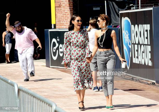 Eleanor Matsuura and Nadia Hilker attend The Walking Dead Walker Horde at Petco Park during Comic Con 2019 on July 20 2019 in San Diego California