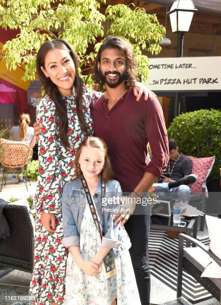 Eleanor Matsuura Cailey Fleming and Avi Nash of 'The Walking Dead' attend the Pizza Hut Lounge at 2019 ComicCon International San Diego on July 20...