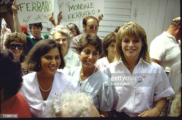 Eleanor Mondale standing with Laura Donna Zaccaro daughters of her father's running mate in crowd during Mondale visit to his hometown Photo by Diana...