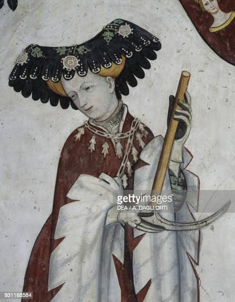 Eleanor of Alborea depicted as Deipyle detail from the Heroes and Heroines cycle fresco in the Baronial Hall of the Castle of Manta Saluzzo Piedmont...
