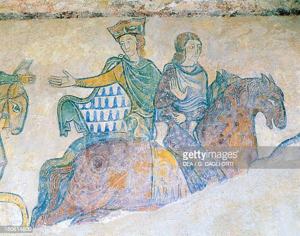 Eleanor of Aquitaine being crowned and her daughter Elisabetta d'Angouleme on horseback 12th13th century fresco Chapel of Santa Redegonda Chinon...