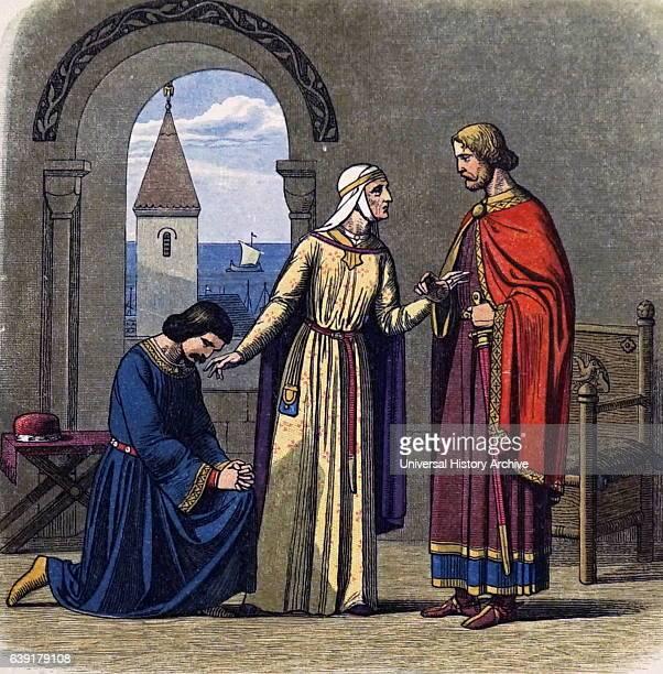 Eleanor of Aquitaine reconciling her sons Richard I Coeur de Lion King of England 11891199 and his heir John King of England 11991216 Colourprinted...