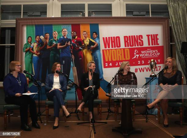 Eleanor Oldroyd of 5Live with Tracey Crouch MP Alex Danson of England Hockey Jennie Price of Sport England and Tracey Neville of England Netball...