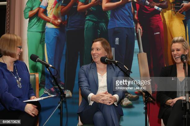 Eleanor Oldroyd of 5Live with Tracey Crouch MP and Alex Danson of England Hockey during the 5Live Panel Discussion during the International Women's...