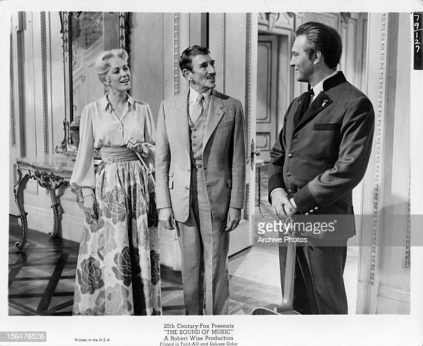 Eleanor Parker and Richard Haydn are greeted by Christopher Plummer in a scene from the film 'The Sound Of Music' 1965