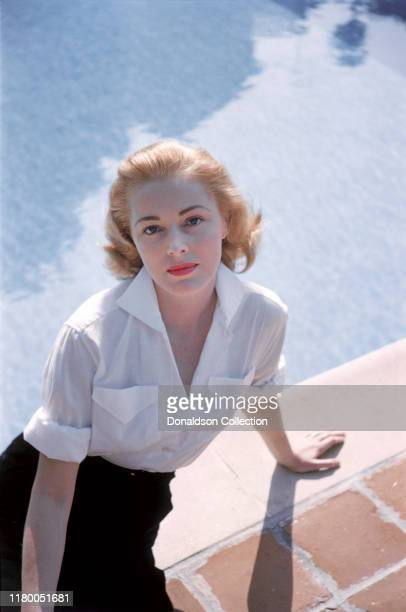 Eleanor Parker by the pool in circa 1950 in Los Angeles California
