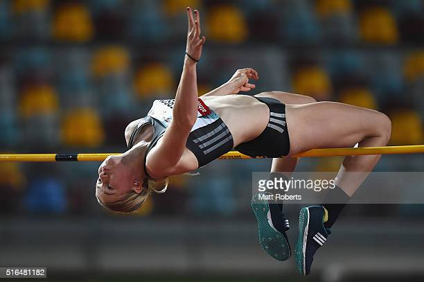 Eleanor Patterson competes in the Womens High Jump during the Queensland Track Classic on March 19 2016 in Brisbane Australia