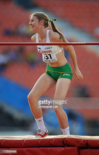 Eleanor Patterson of Australia smiles after she clears a height of 188m in the Girls High Jump Final during Day 3 of the IAAF World Youth...