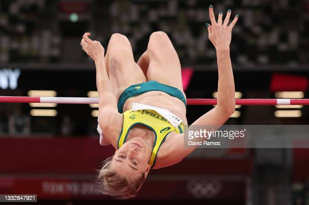 Eleanor Patterson of Team Australia competes in the Women's High Jump Final on day fifteen of the Tokyo 2020 Olympic Games at Olympic Stadium on...