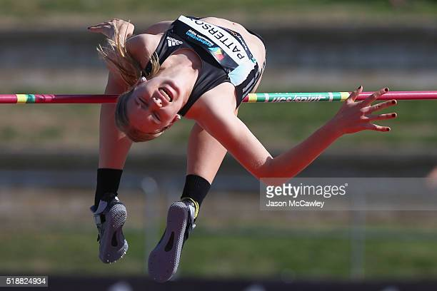 Eleanor Patterson of Victoria competes in the womens high jump during the Australian Athletics Championships at Sydney Olympic Park on April 3 2016...