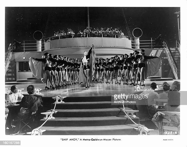 Eleanor Powell is center performer in a scene from the film 'Ship Ahoy' 1942