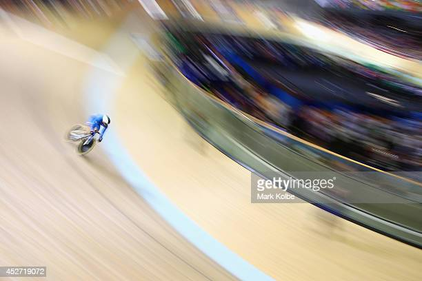 Eleanor Richardson of Scotland competes in the women's sprint qualifying at Sir Chris Hoy Velodrome during day three of the Glasgow 2014 Commonwealth...