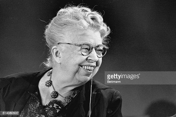 Eleanor Roosevelt acted as hostess for taping of the educational television symposium Prospects of Mankind The former First Lady was permanent...
