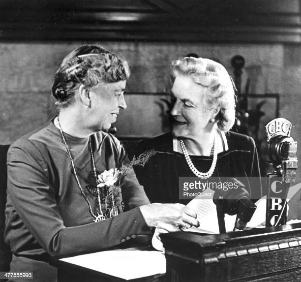 Eleanor Roosevelt and Clementine Churchill pose for photographers shortly before they addressed the Canadian people over the CBC network at the...