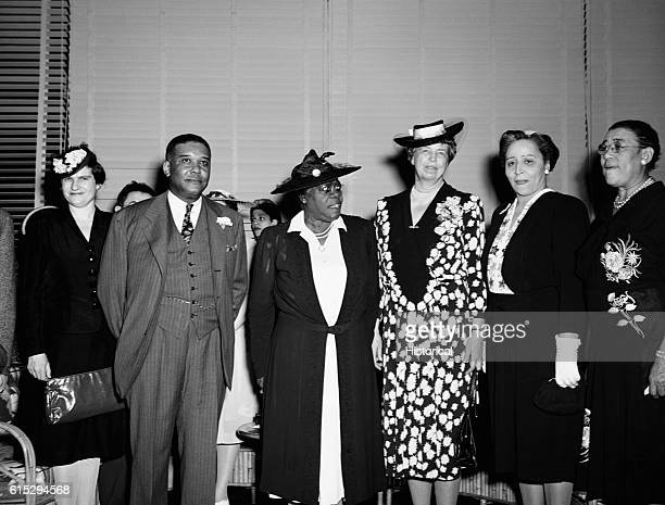 Eleanor Roosevelt and Dr Mary McLeod Bethune are visiting George Washington Carver Hall a men's dormitory for blacks Washington DC May 1943 |...